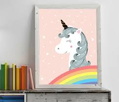 Nursery Wall Art Decor With White Unicorns Stars And Rainbow Be - Prints for kids rooms