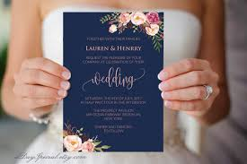 Navy Wedding Invitation Template Pink Coral Boho Chic Floral