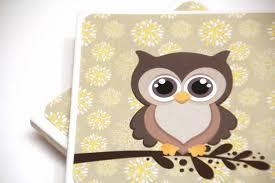 owl coasters set of 4 owl decor hootie owl ready to ship