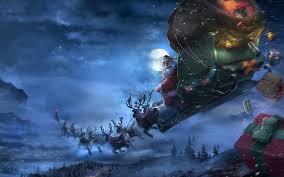 download wallpaper 3840x2400 santa claus reindeer sleigh flying
