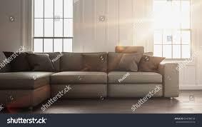 bright sunlight flooding simple living room stock illustration