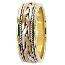 braided band 3 tone braided wedding band weaved ring 18k white yellow gold