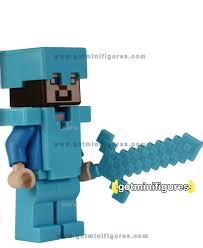 diamond steve lego minecraft steve diamond armor w blocky sword minifigure