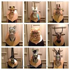 taxidermy animal heads funny group costume