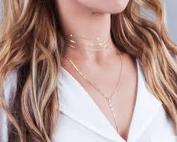 choker necklace layered images Gold choker necklace set necklace set of 2 minimal y lariat etsy jpg