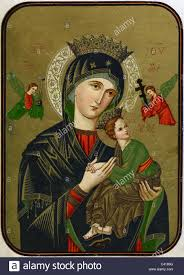 holy mary portrait with baby jesus coloured art print religion