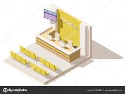 Hospital Reception Desk Vector Isometric Low Poly Hospital Reception U2014 Stock Vector