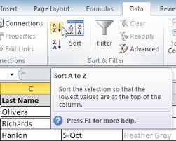 excel 2010 sorting data full page