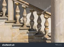 Stone Banister Stone Balustrade Old Handrail Staircase Historic Stock Photo