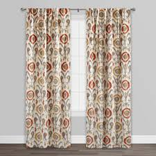 orange ikat cotton concealed tab top curtains set of 2 world market