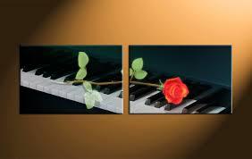 2 piece black canvas piano music wall decor