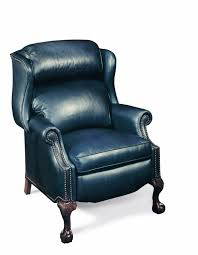 Swedish Leather Recliner Chairs Presidential Reclining Wing Chair W Brass Nails By Bradington