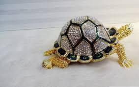 2018 russia longevity turtle craft color tin metal jewelry box