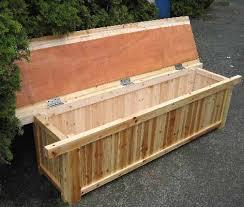 cedar wood storage bench patio treenovation pertaining to plan
