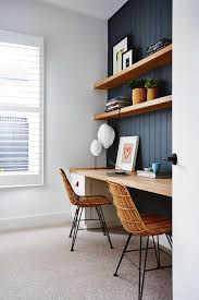 Diy Pallet Computer Desk Picture Charming Retro Home Office by Navy Paneled Wall Behind Desks Open Wood Shelving Long Wood