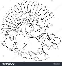 coloring page pegasus large wings clouds stock vector 668089714