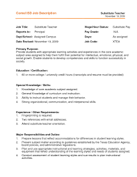 Teacher Job Description For Resume by Best Experience Resume For Substitute Teaching And Other