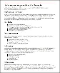 curriculum vitae template leaver jobs hairdresser apprentice cv sle myperfectcv
