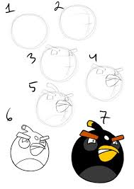 drawing tutorial draw black angry bird step step