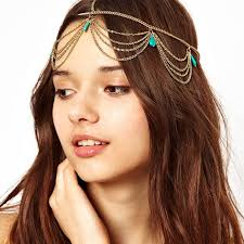 indian bridal hair accessories gold chain vintage boho