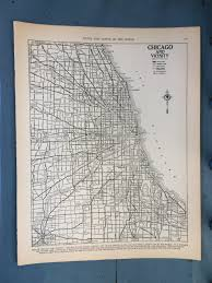 Map Of Chicago Illinois by Vintage 1940s Chicago Map Rand Mcnally Atlas Map Of Chicago