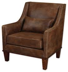 Incredible Leather Accent Chair Armchairs Brown Uttermost Clay