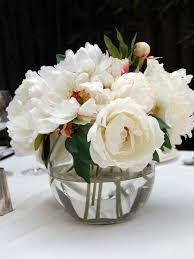 Glass Bowl Vases Ivory White Peony Rose Glass Fish Bowl Vase