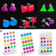 plastic stud earrings mix pretty heart shape glow in luminous ear studs