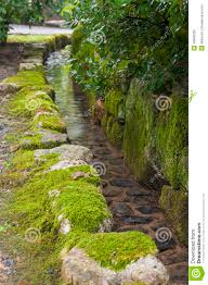 traditional japanese garden water channel stock photo image