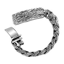 solid sterling silver mens bracelet images Metjakt men 39 s punk dragonscale bracelets solid 925 jpg