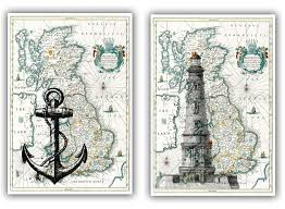 Anchor Bathroom Accessories by Lighthouse And Anchor Print On Antique Map Of England Map