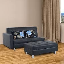 homcom corner sofa bed couch sleeper lounge ottoman storage stool