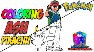 ash ketchum and pikachu pokemon coloring pages for kids to learn