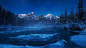rivers forests mountains alberta night winter first ice river