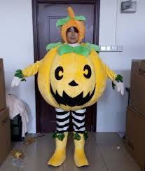 with mini fan inside the head pumpkin mascot costume with