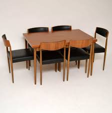 amazing rectangle teak dining table with 6 teak dining chairs used