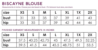 blouse size chart biscayne blouse li l ghost sprout patterns