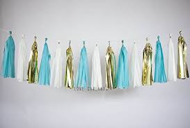 ivory gold bright turquoise teal tassel garland teal