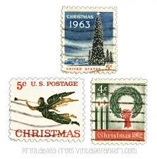 free printable vintage christmas postage stamps scrapbooking