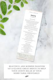 modern seder beautiful and modern passover at a glance sheets to help