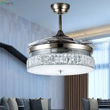 modern invisible acrylic led ceiling fan lights lustre crystal