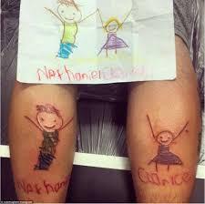 australian parents tattoo their kids u0027 drawings on their skin in