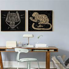mysterious cat head and monkey with peanut black abstract painting