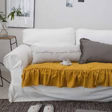mustard washed linen hand quilted sofa pads