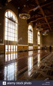 the restored art deco interior of union station in los angeles