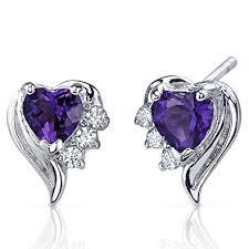 amethyst earrings amethyst earrings sterling silver heart shape cz