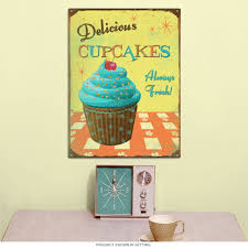 delicious cupcakes kitchen metal sign vintage bakery signs