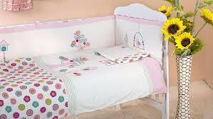 7pcs pink baby crib bedding set for girls cartoon bird newborn