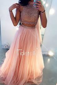 tulle for sale hot sale a line 2 pieces high neck tulle prom dress with beading