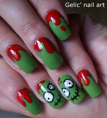 gelic u0027 nail art cute n u0027 crazy green bloody zombie nail art